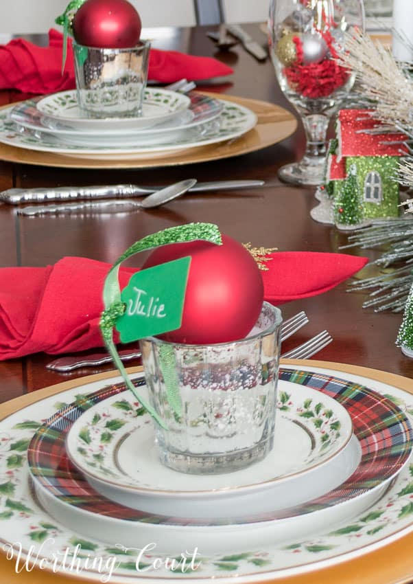 Red, green and gold Christmas tablescape