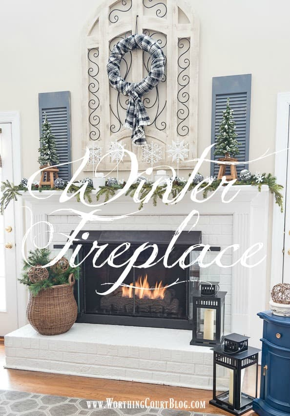 After Christmas Snowy Winter Fireplace graphic.