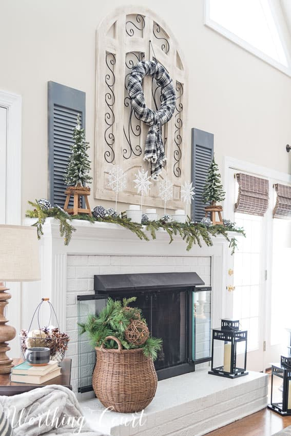 Farmhouse fireplace winter mantel and hearth || Worthing Court