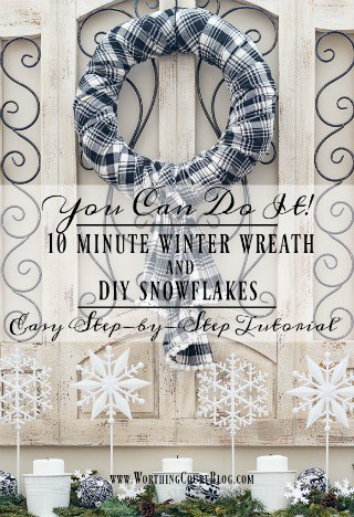 How To Make A Fast And Easy Winter Wreath And DIY Snowflake Display