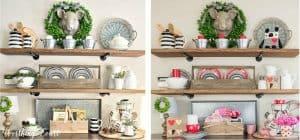 Valentine's decor on open shelves