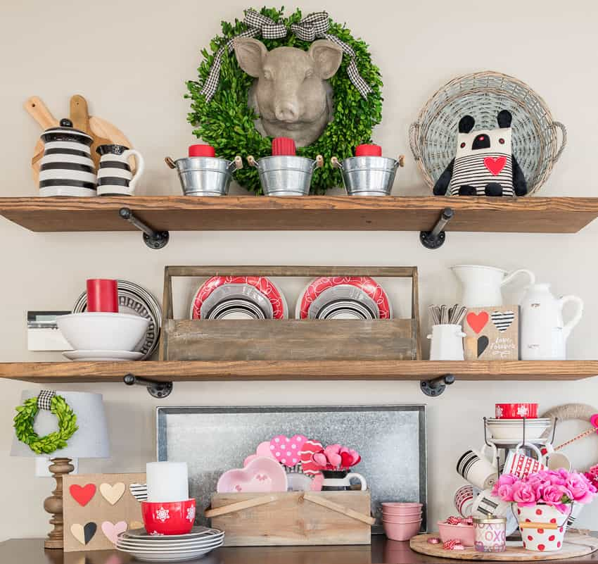 Valentine's Day rustic farmhouse open shelves || Worthing Court