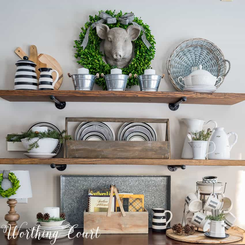 Open farmhouse shelves decorated for winter || Worthing Court