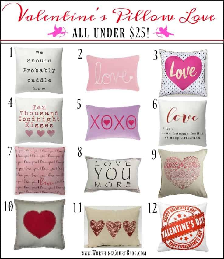12 Valentine's Day Pillows Under $25 || Worthing Court