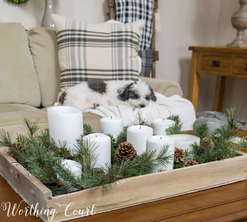 Winter coffee table vignette || Worthing Court