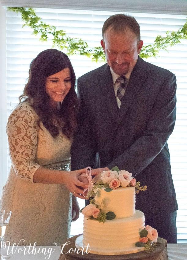 Wedding cake cutting by candlelight || Worthing Court