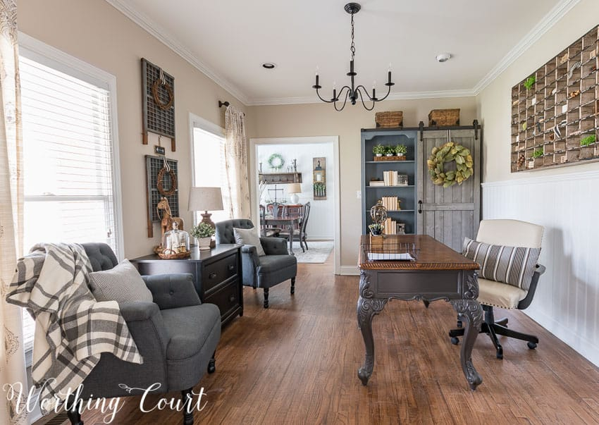 home office with gray painted furniture
