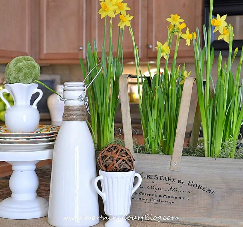Use inexpensive flowers from the grocery as the base of a spring vignette    Worthing Court.