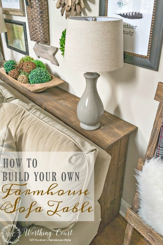 How To Build A Farmhouse Sofa Table Graphic.