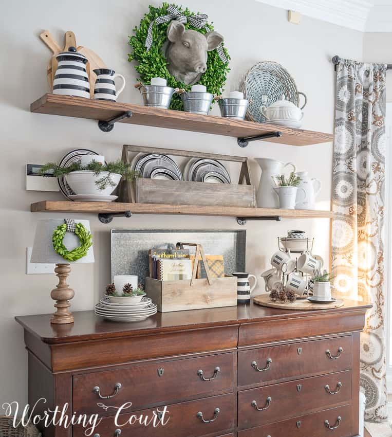 When putting a display together, start by adding a large item to the back and layering in front of it || Worthing Court