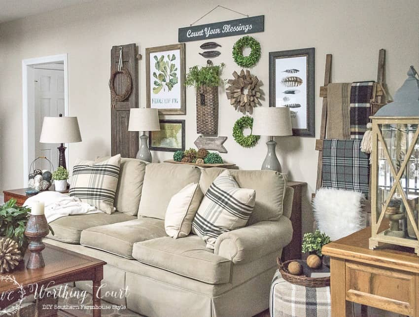 Easy step by step directions for building a rustic farmhouse sofa table || Worthing Court