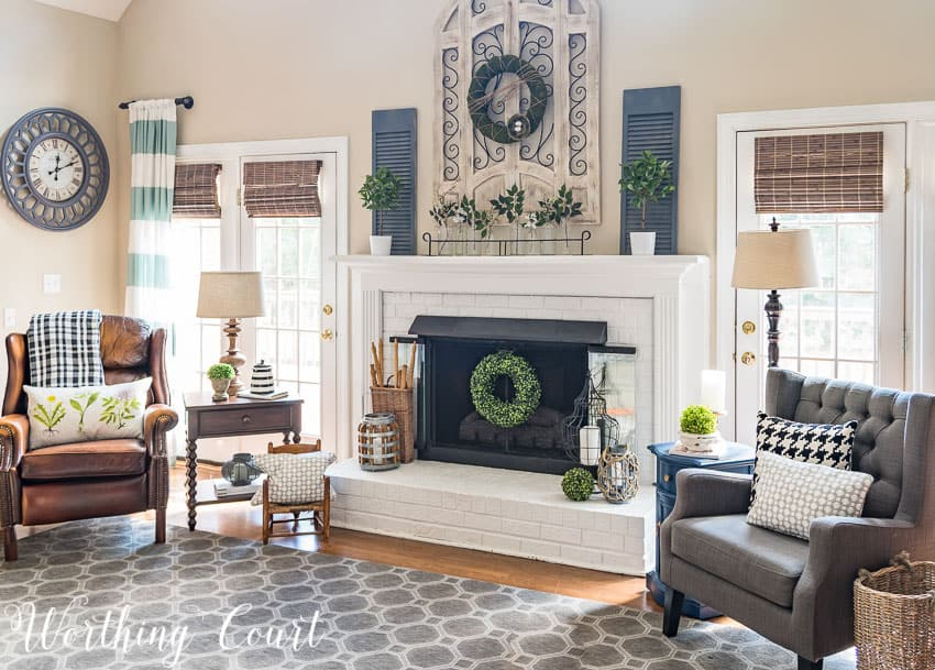 A fresh farmhouse style spring fireplace    Worthing Court