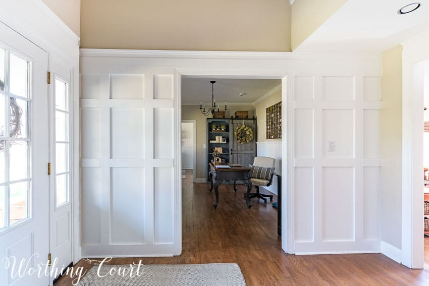 Board And Batten Two Story Foyer : Farmhouse style foyer makeover update lighting options