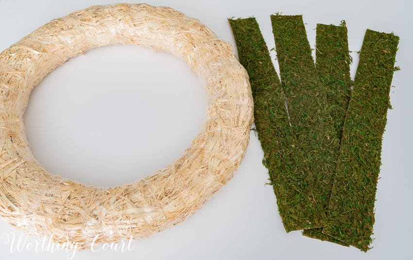 The wreath form and the moss laid out for the tutorial.