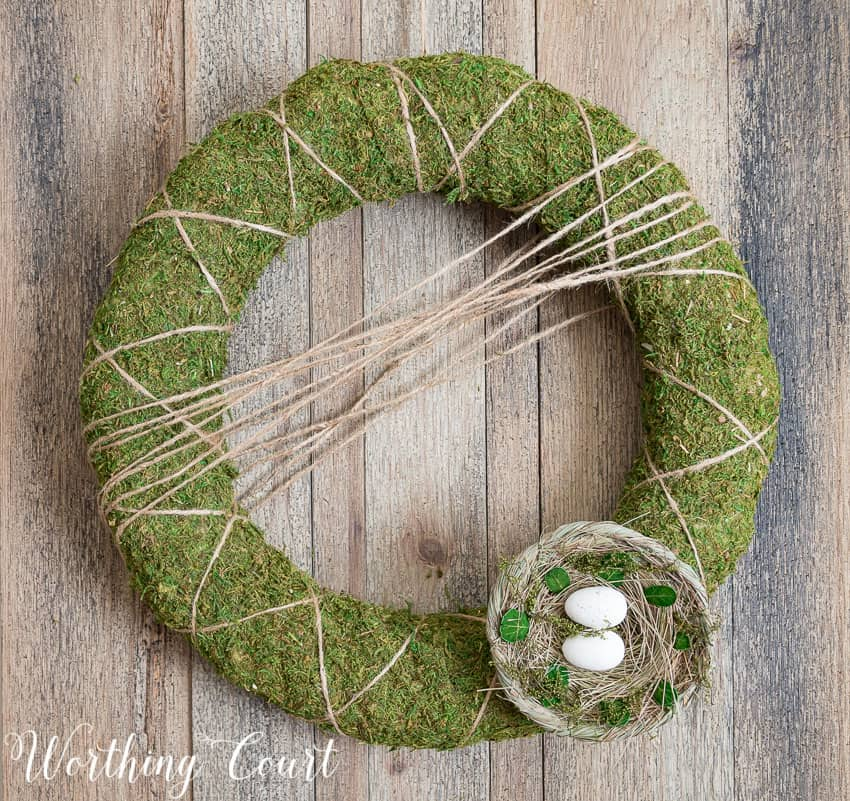 The little birds nest at the bottom of the wreath.