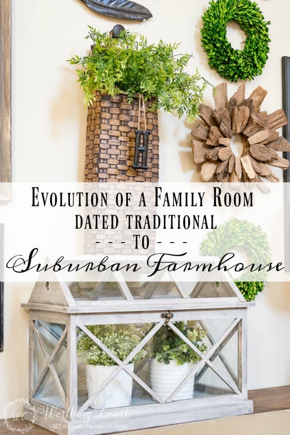 See how a dated traditional style family room turned into a suburban farmhouse charmer || Worthing Court