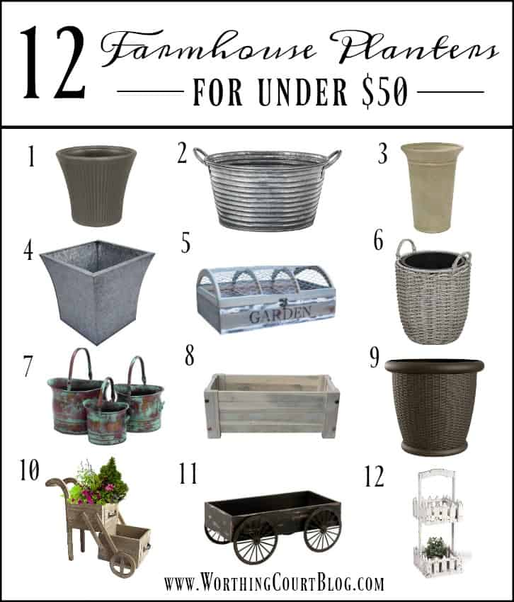 12 Farmhouse Style Outdoor Planters Under $50 || Worthing Court