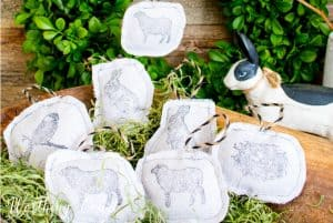 Easter tree ornaments made with a drop cloth
