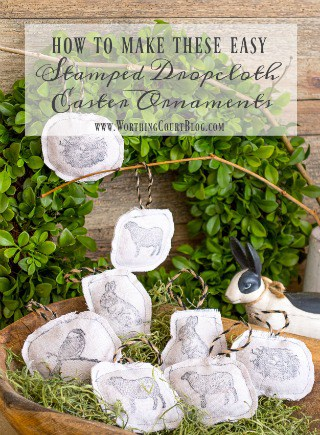 How To Make Stamped Dropcloth Easter Ornaments