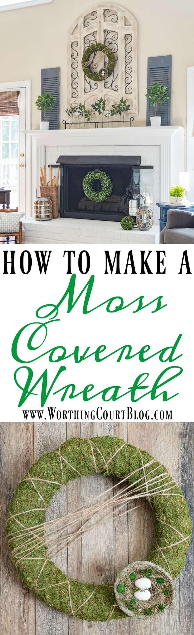 Step by step directions and supply list for making this easy moss covered wreath || Worthing Court