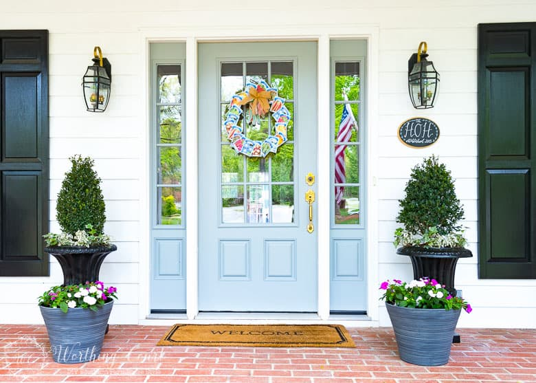 Farmhouse Front Porch Entry And Simple Planters || Worthing Court