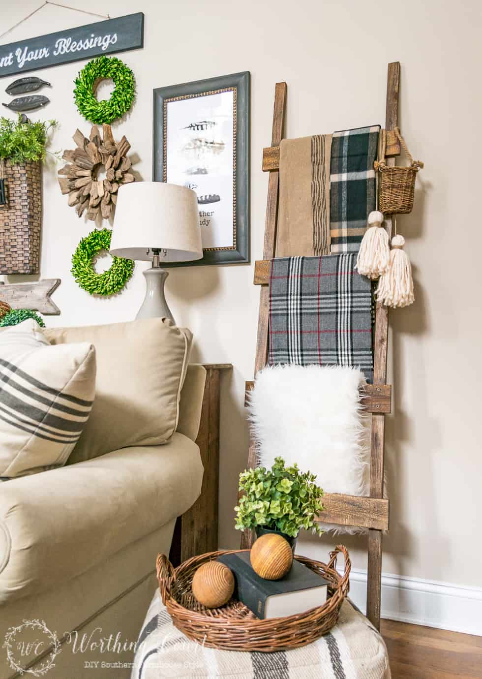A blanket ladder with many types and textures of blankets.