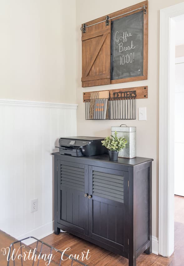 Rustic industrial storage solution in a suburban farmhouse style home office || Worthing Court