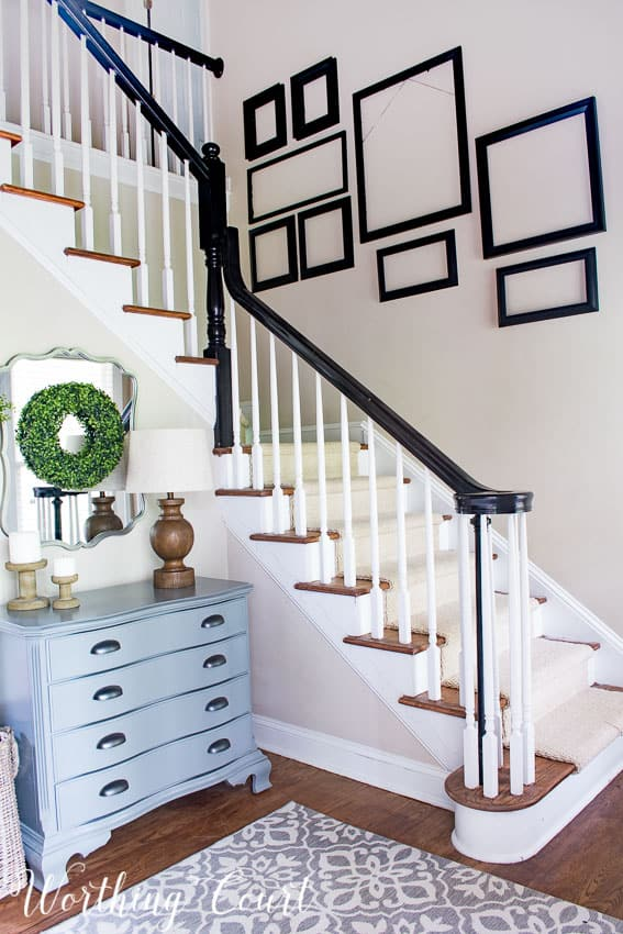 Stairway gallery wall frame arrangement || Worthing Court