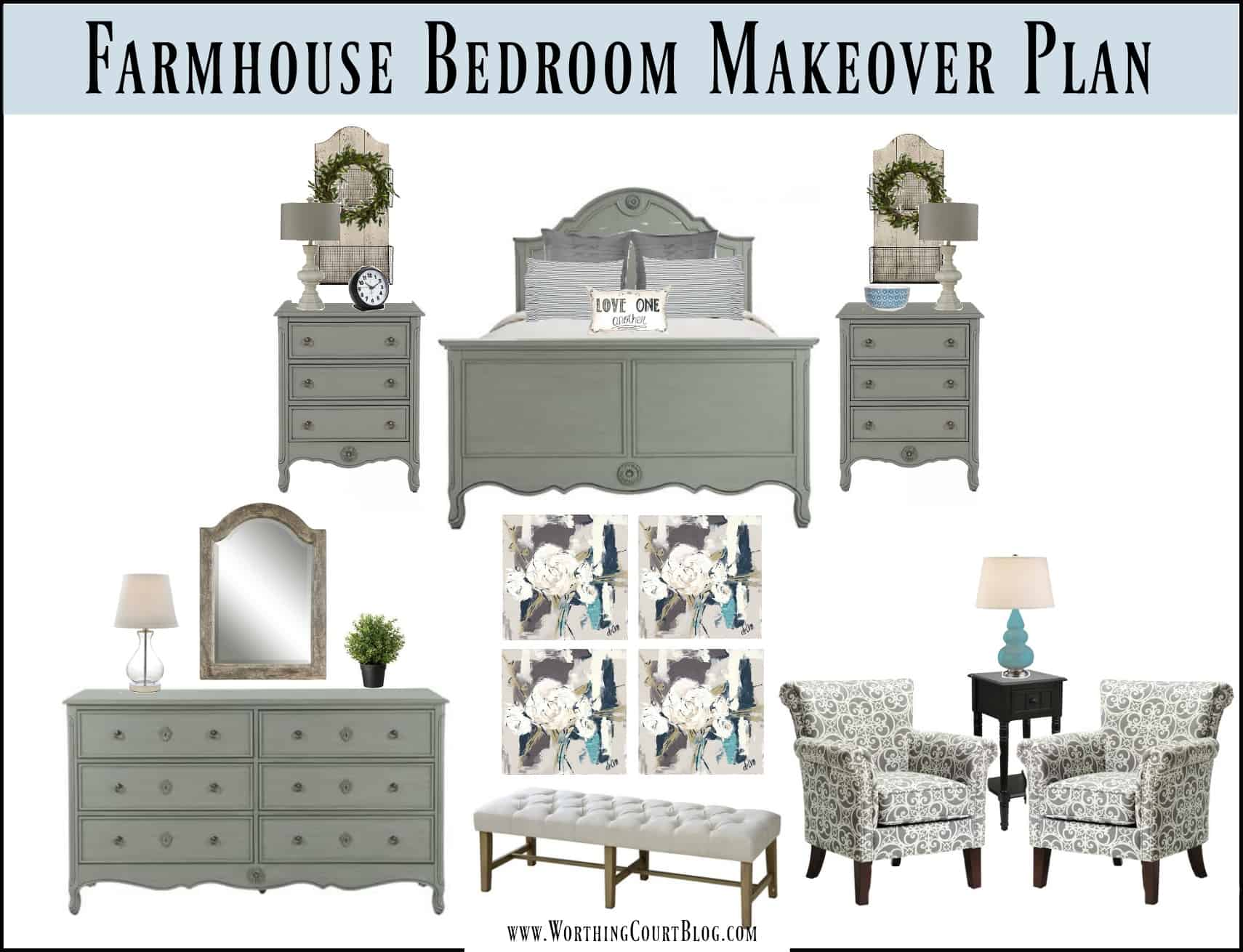 Farmhouse style bedroom makeover plans || Worthing Court