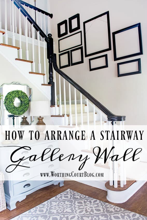 Tips for how to figure out a gallery wall arangement for a stairway || Worthing Court