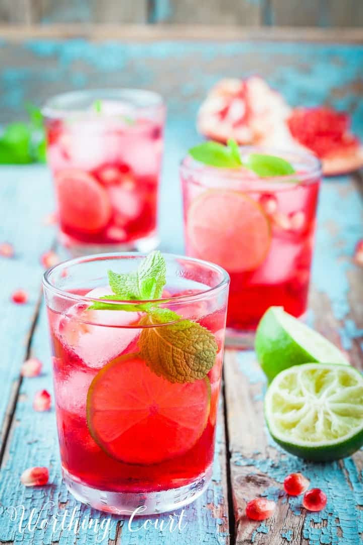 glass of pomegranate lemonade