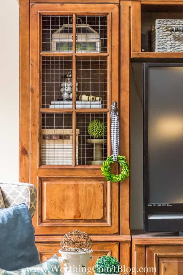 Replace glass doors with chicken wire for a totally new look.