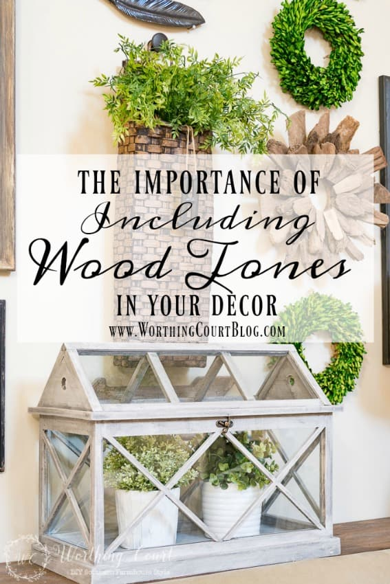 The importance of including wood tones in your home decor graphic.