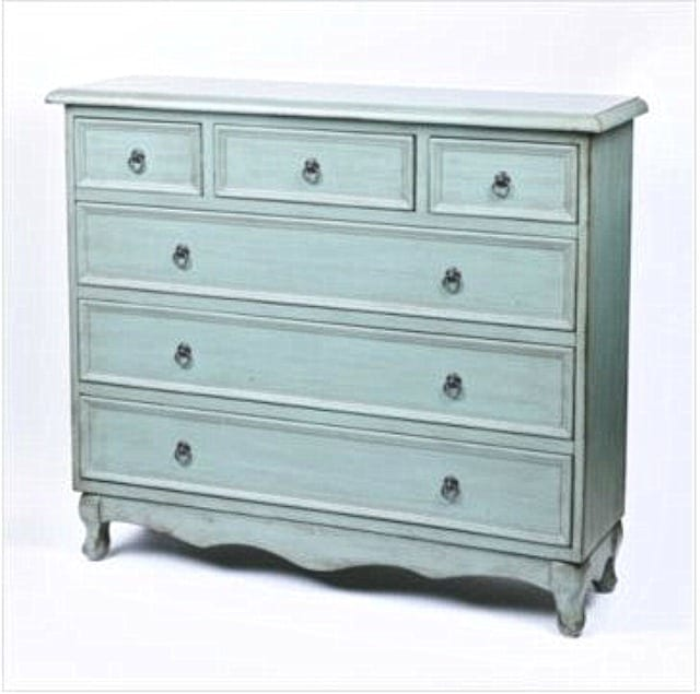 Where to buy this blue distressed chest. A great piece for narrow spaces. || Worthing Court