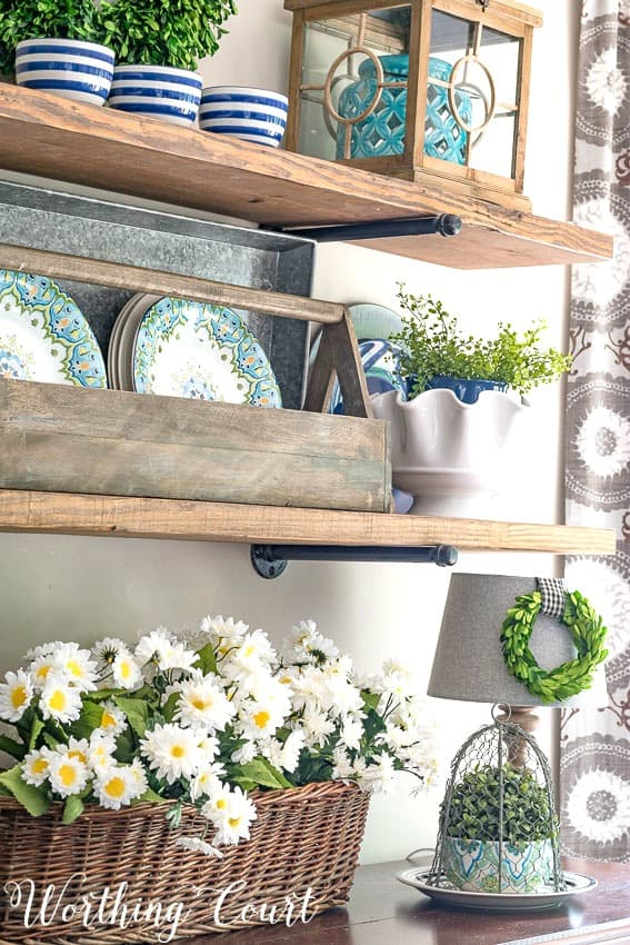 Rustic farmhouse open shelves decorated with blue and green for summer || Worthing Court
