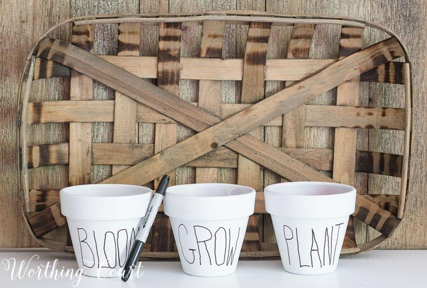 Copy Cat White Clay Flower Pots Tutorial - Under $10 || Worthing Court