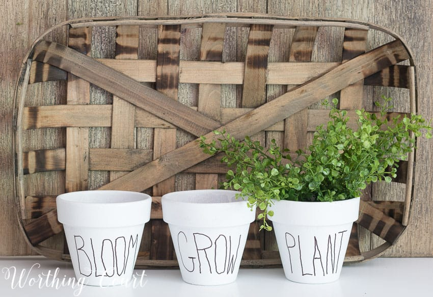 Copy Cat White Clay Flower Pots Tutorial - Under $10 For A Set Of 3 || Worthing Court