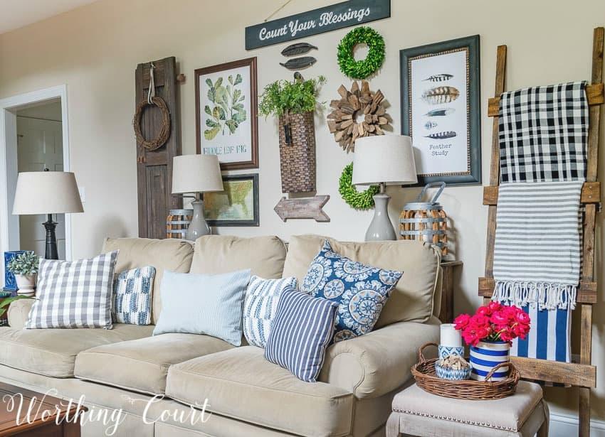 Family room summer decor || Worthing Court