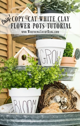 Copy Cat White Clay Flower Pots Tutorial - Under $10
