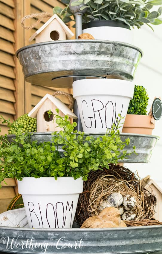 How to make copy cat white clay flower pots for under $10 || Worthing Court