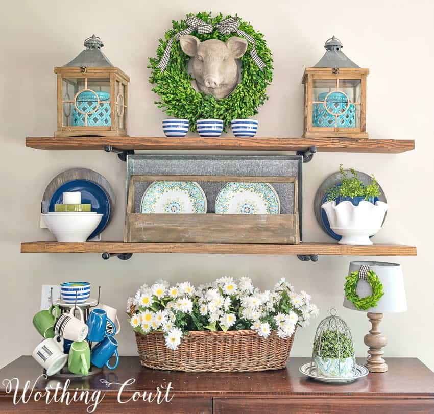 Rustic farmhouse open shelves decorated with blue and green for the summer || Worthing Court