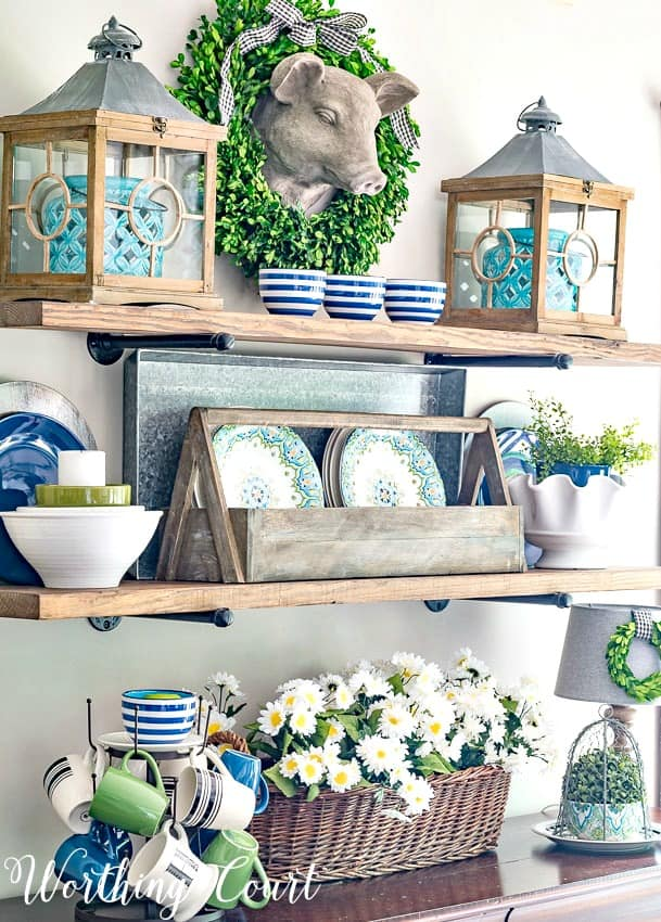 Rustic farmhouse open shelves with blue and green summer decor || Worthing Court