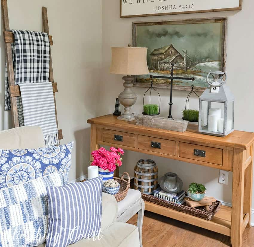 Sofa table summer decor ideas || Worthing Court