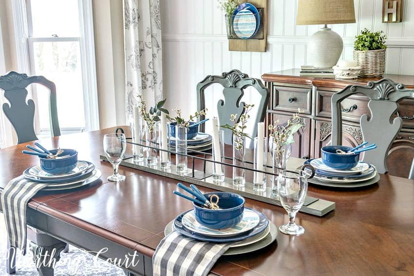 Summer tablescape with blue, white and gray dishes