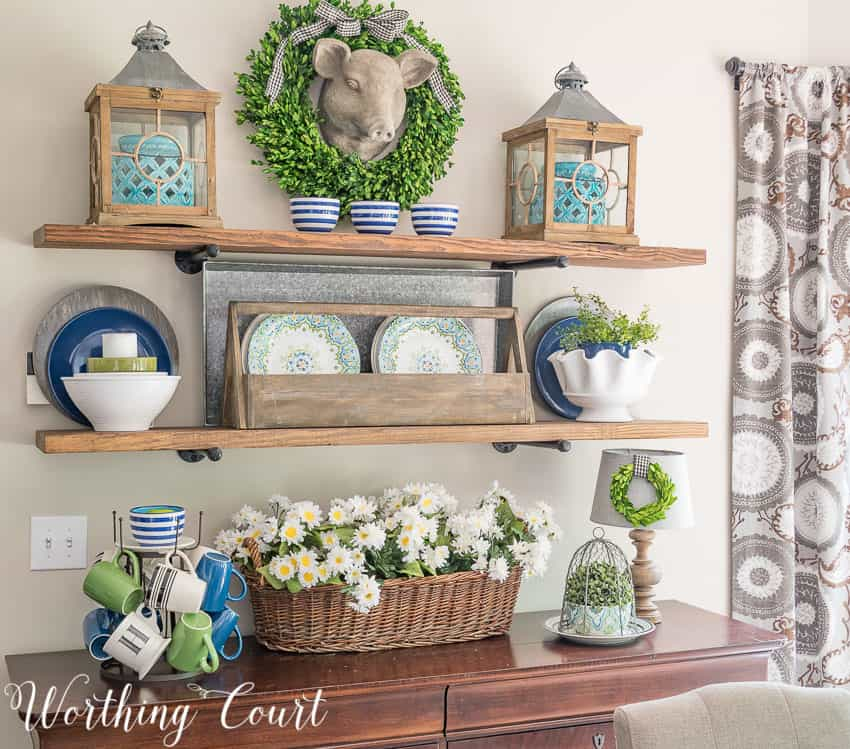 Summer decorative shelf decor #summer #shelves #farmhousestyle #diyshelves