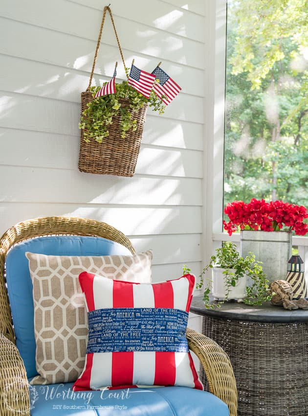 No need to buy new patriotic pillows for July 4th! Simply wrap a band of patriotic fabric around an existing pillow and secure in the back with a safety pin. Easy and fast!    Worthing Court