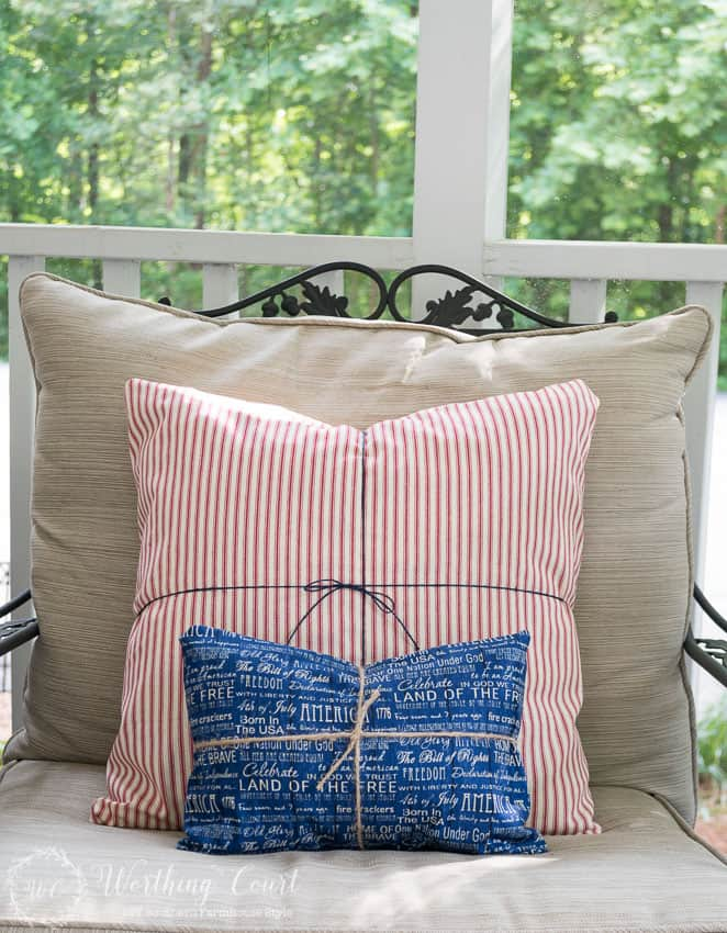 No need to buy or sew new pillows for July 4th and other patriotic holidays. If you can wrap a present, then you can wrap a pillow with fabric. Secure with twine or ribbon. Easy and fast! || Worthing Court
