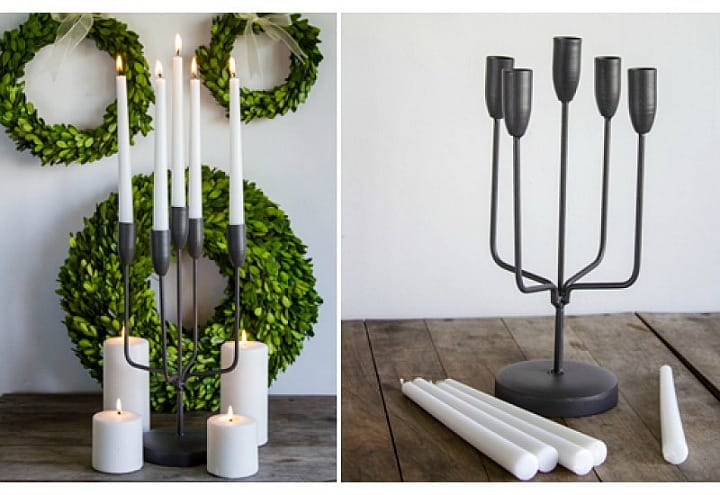 Modern farmhouse decor - simple black metal candelabra || Worthing Court