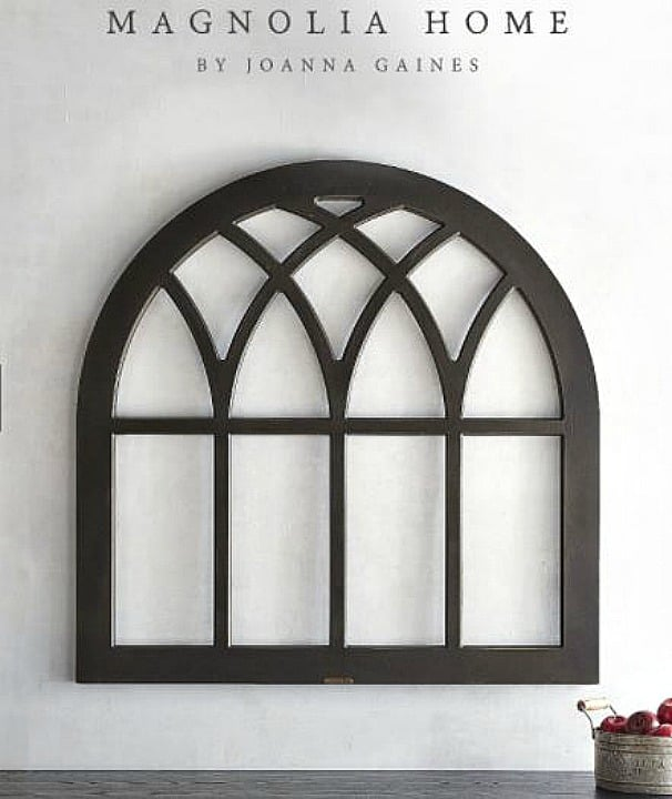 Would love a magnolia wreath displayed on this Magnolia Home cathedral window frame wall decor || Worthing Court