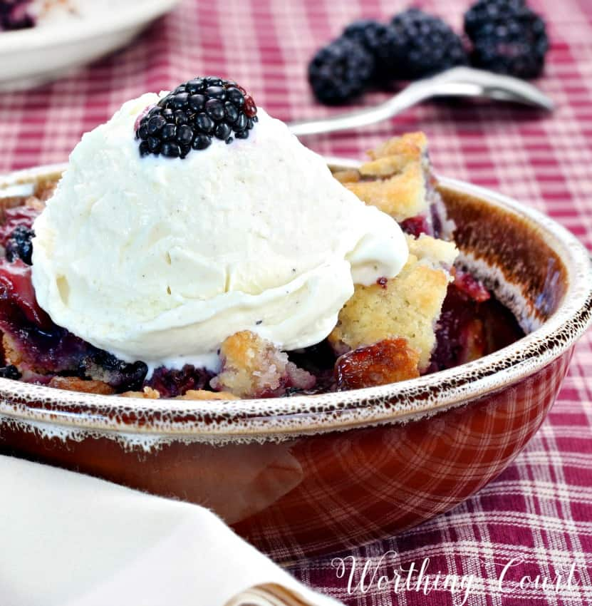 Recipe for Southern Style Blackberry Dumpling Cobbler with ice cream|| Worthing Court